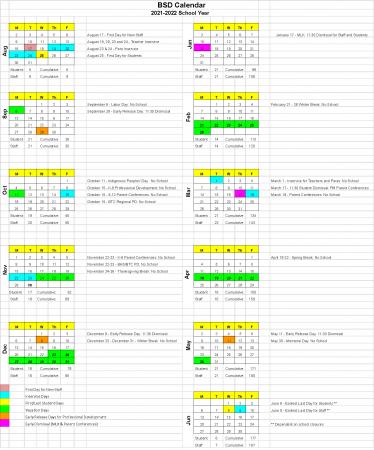 BSD 2021-2022 Calendar at a Glance 4.6.21